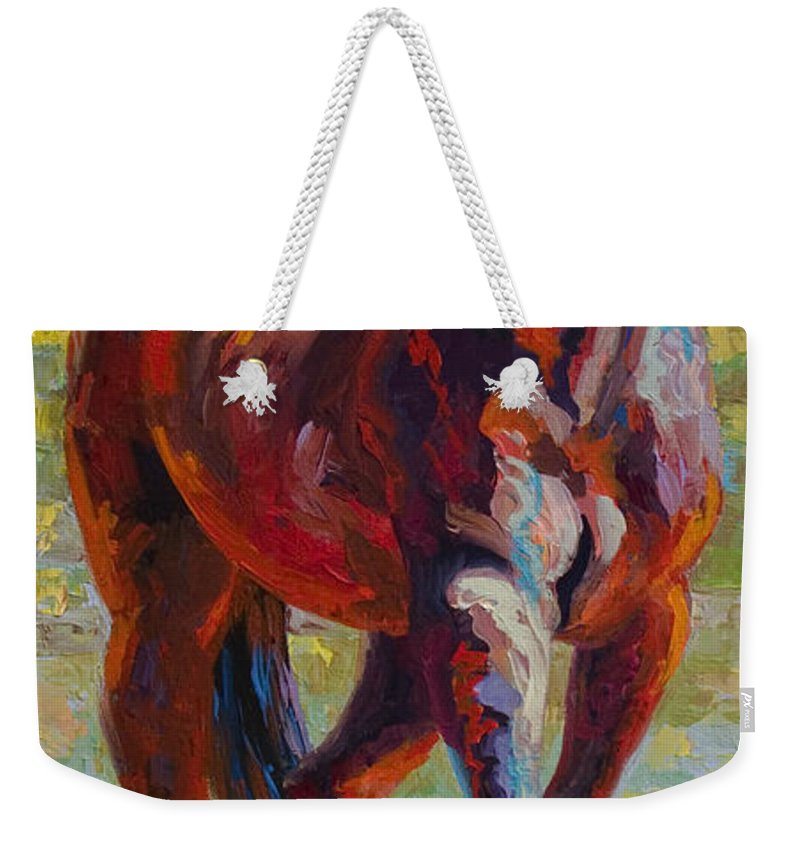 Horses Weekender Tote Bag featuring the painting Corral Boss - Mustang by Marion Rose