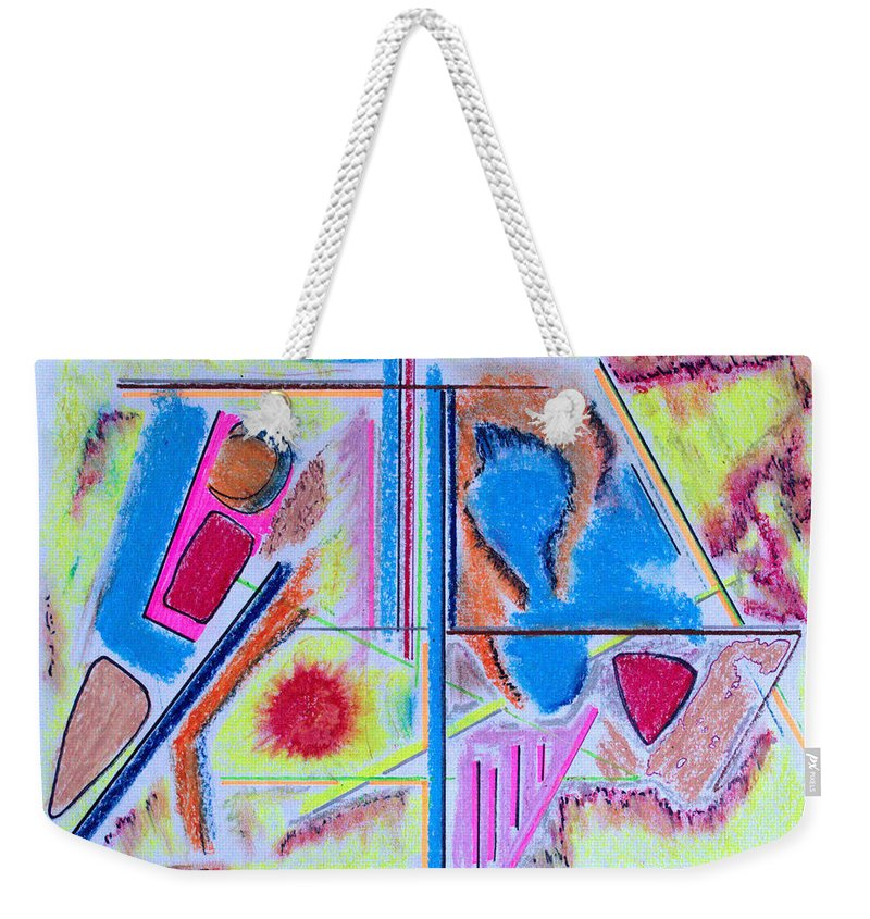 Abstract Weekender Tote Bag featuring the drawing Corrosion In Sectors by J R Seymour
