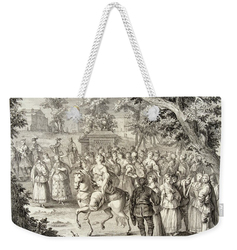 A J Defehrt Weekender Tote Bag featuring the drawing Cortege Of Aurora by A J Defehrt