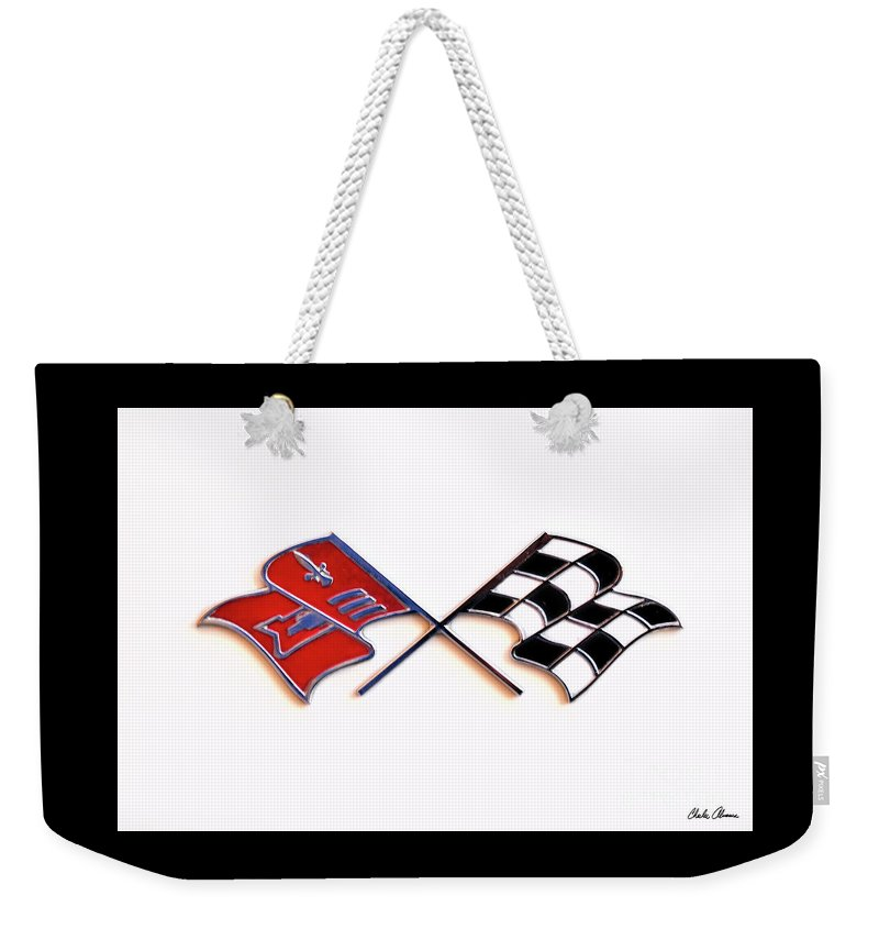 Corvette Weekender Tote Bag featuring the photograph Corvette Flags On White by Charles Abrams