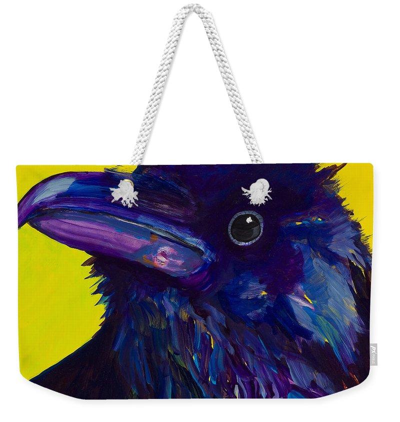 Bird Weekender Tote Bag featuring the painting Corvus by Pat Saunders-White