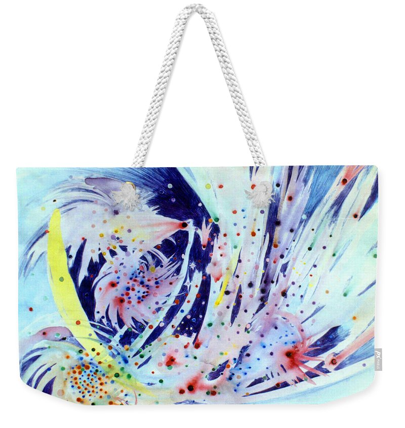 Abstract Weekender Tote Bag featuring the painting Cosmic Candy by Steve Karol