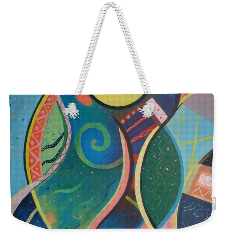 Abstract Weekender Tote Bag featuring the painting Cosmic Carnival V Aka The Dance by Helena Tiainen