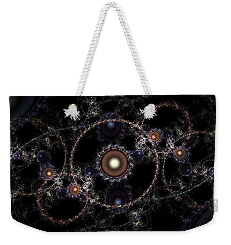 Abstract Weekender Tote Bag featuring the digital art Cosmic Clockworks by Casey Kotas
