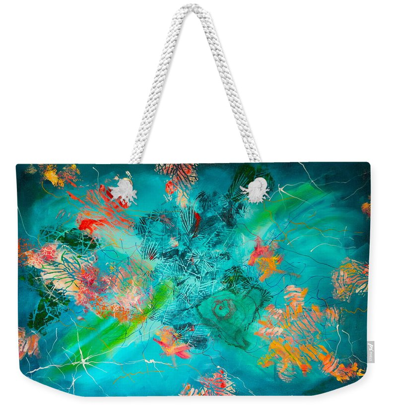 Cosmic Weekender Tote Bag featuring the painting Cosmic Love by Diana Perfect