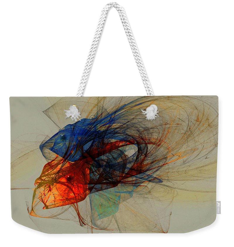 Fish Weekender Tote Bag featuring the digital art Cosmic Fish by Stephen Lucas