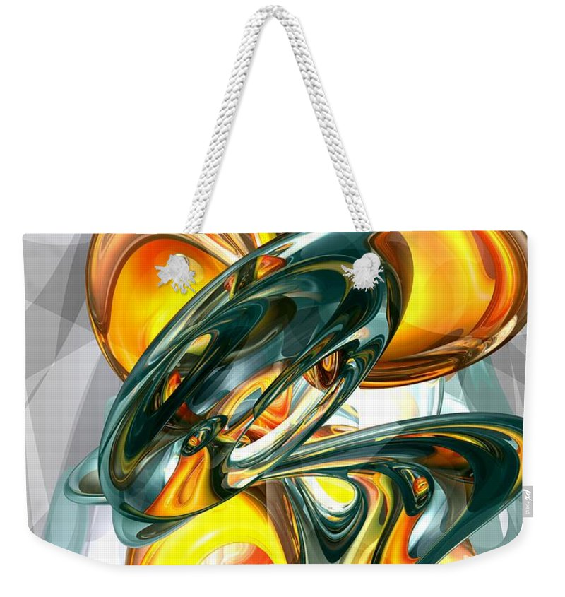 3d Weekender Tote Bag featuring the digital art Cosmic Flame Abstract by Alexander Butler