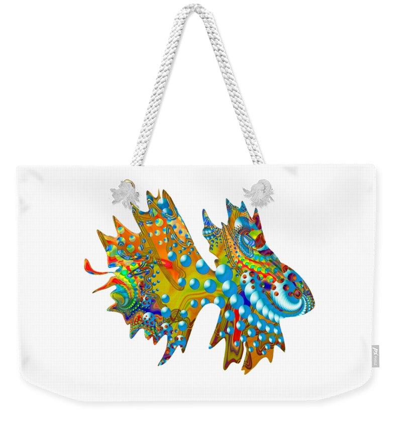 Shells Weekender Tote Bag featuring the digital art Cosmic Guppy by Deborah Runham