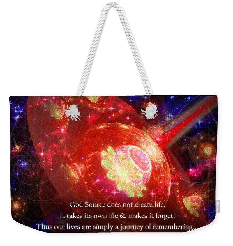 Corporate Weekender Tote Bag featuring the mixed media Cosmic Inspiration God Source 2 by Shawn Dall