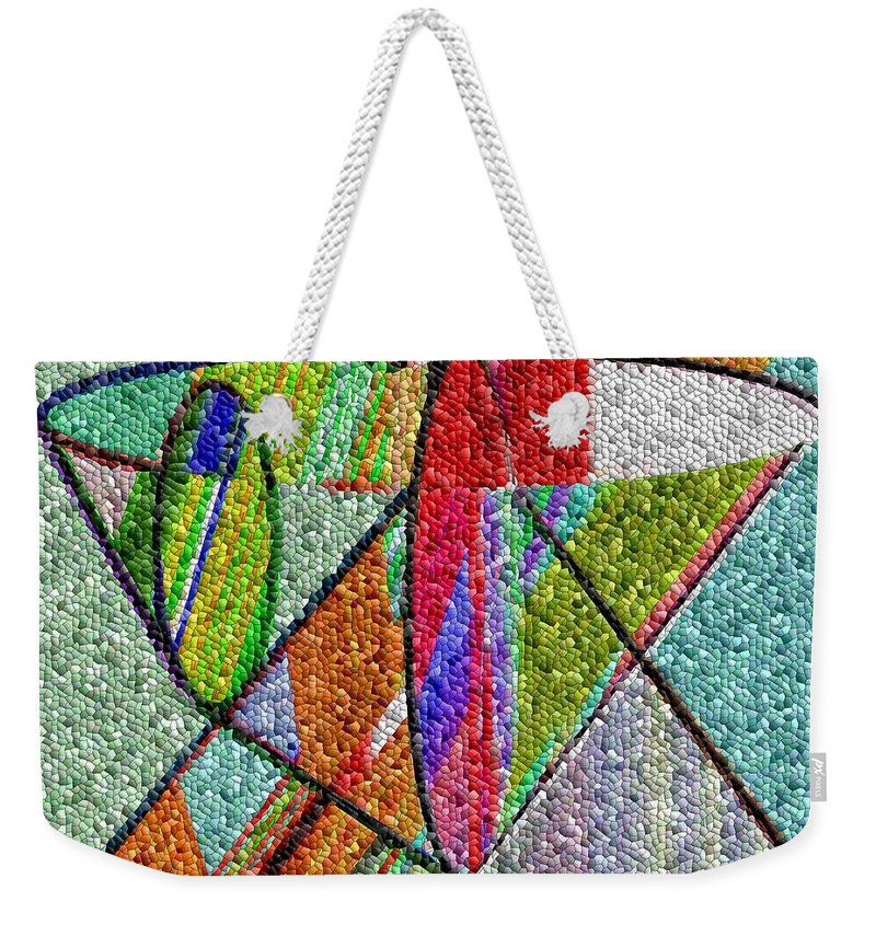 Life Weekender Tote Bag featuring the digital art Cosmic Lifeways Mosaic by Helmut Rottler