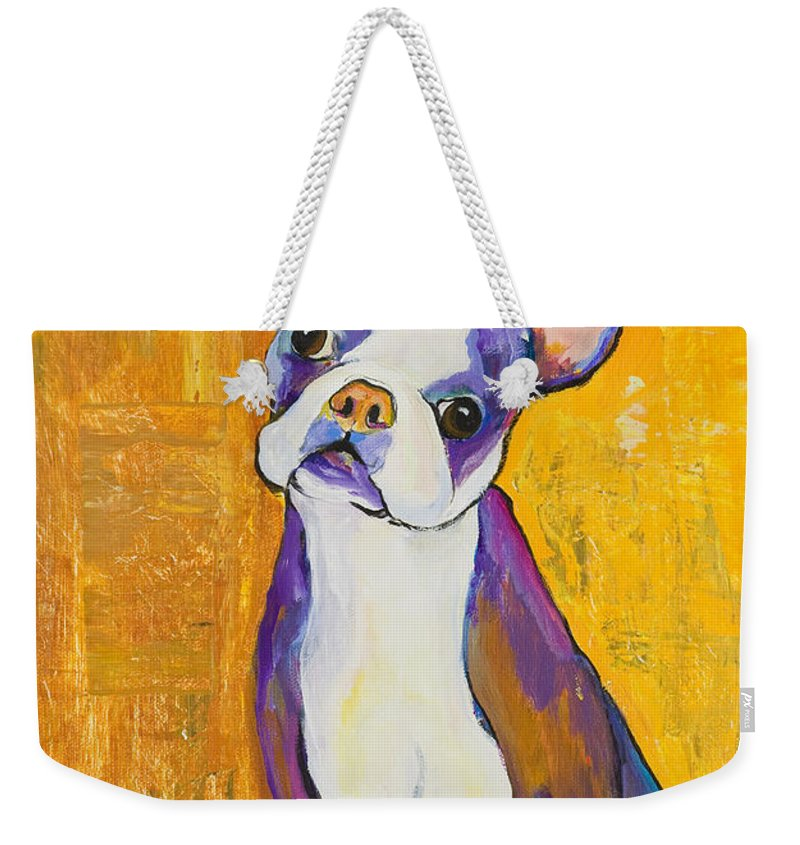Boston Terrier Animals Acrylic Dog Portraits Pet Portraits Animal Portraits Pat Saunders-white Weekender Tote Bag featuring the painting Cosmo by Pat Saunders-White