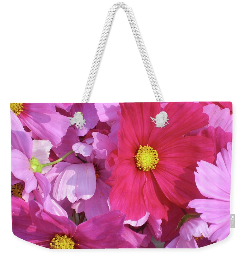 Flowers Weekender Tote Bag featuring the photograph Cosmos by Cheryl O'Neil