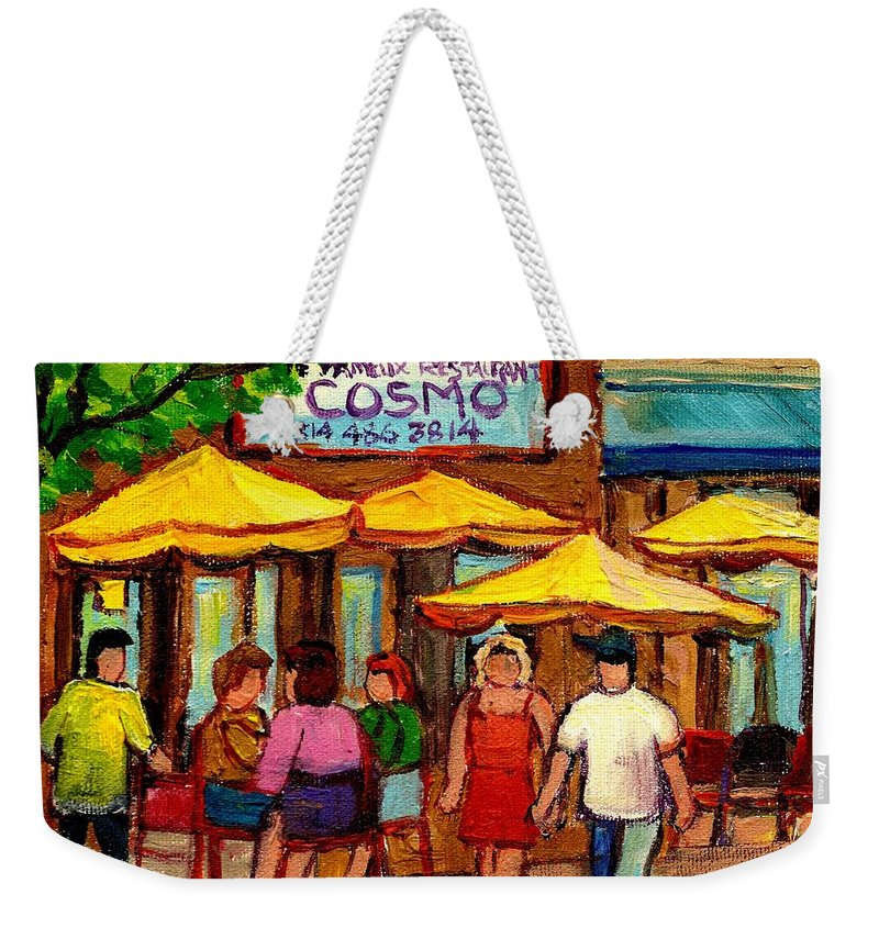Cosmos Restaurant Weekender Tote Bag featuring the painting Cosmos Fameux Restaurant On Sherbrooke by Carole Spandau
