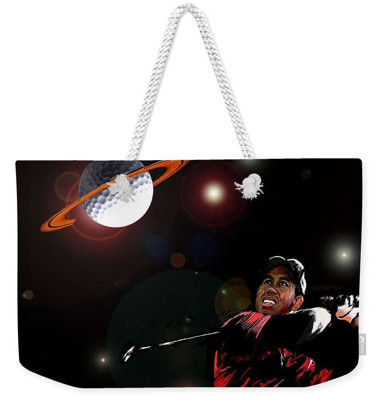 Golf Art Weekender Tote Bag featuring the painting Cosmos Golf by Miki De Goodaboom