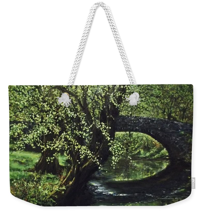 Tranquility Weekender Tote Bag featuring the painting Cotswolds Scene 1 by Lizzy Forrester