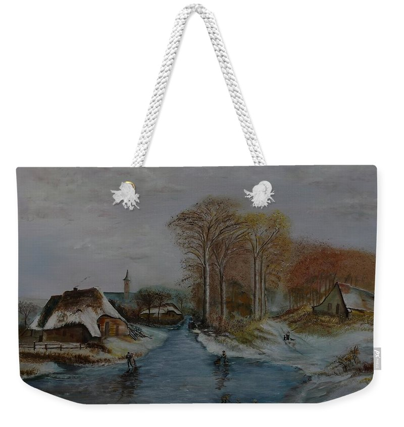Thatched Roof Cottage Weekender Tote Bag featuring the painting Cottage Country - Lmj by Ruth Kamenev