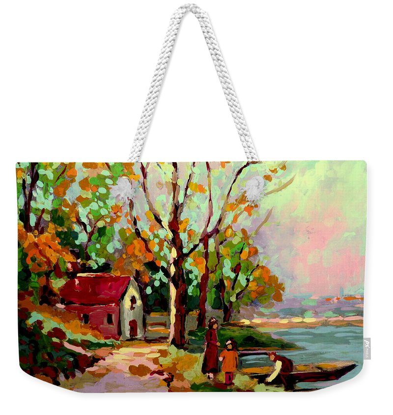 Montreal Weekender Tote Bag featuring the painting Cottage Country The Eastern Townships A Romantic Summer Landscape by Carole Spandau