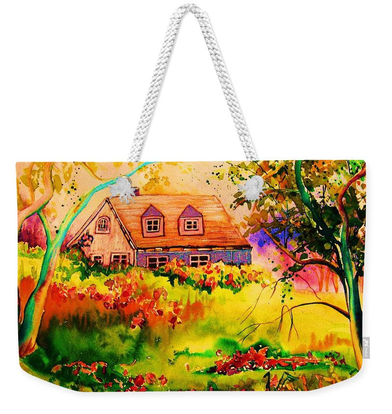 Maine Countryscene Weekender Tote Bag featuring the painting Cottage In Maine by Carole Spandau