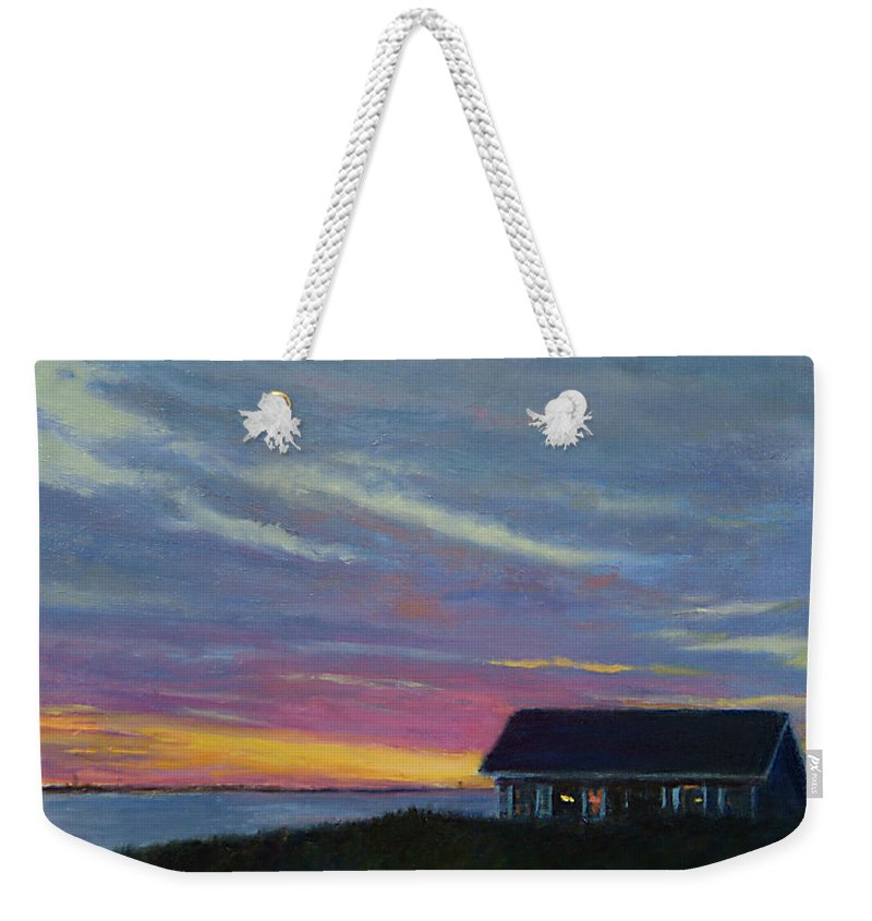 Landscape Weekender Tote Bag featuring the painting Cottage With A View by Phyllis Tarlow