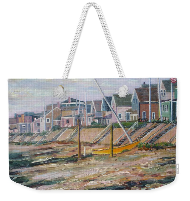 Beach Weekender Tote Bag featuring the painting Cottages Along Moody Beach by Richard Nowak