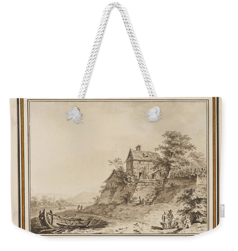 Adrian Zingg Weekender Tote Bag featuring the drawing Cottages On A Riverbank by Adrian Zingg