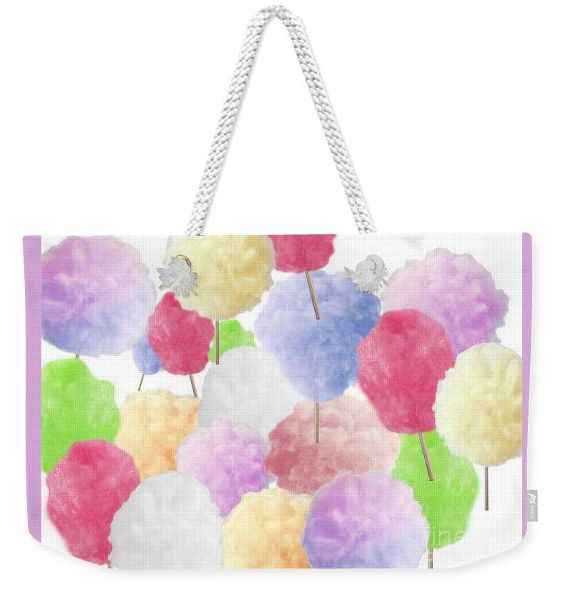 Cotton Candy Weekender Tote Bag featuring the mixed media Cotton Candy by Sandra Harrison
