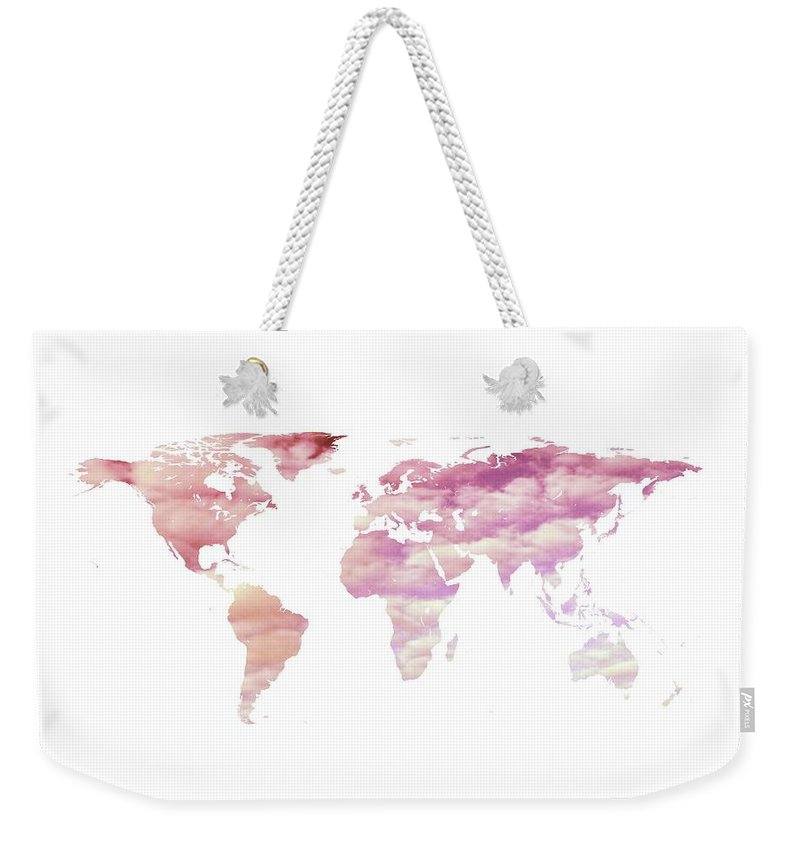 Cotton Candy Sky World Map Weekender Tote Bag featuring the photograph Cotton Candy Sky World Map by Marianna Mills