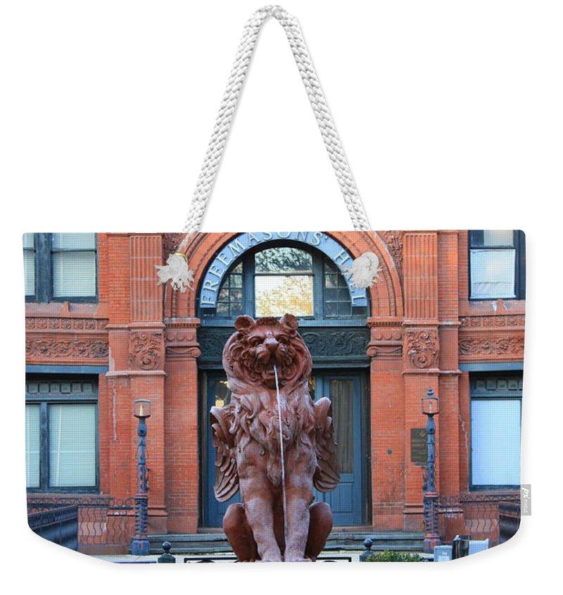 Savannah Weekender Tote Bag featuring the photograph Cotton Exchange Building In Savannah by Carol Groenen