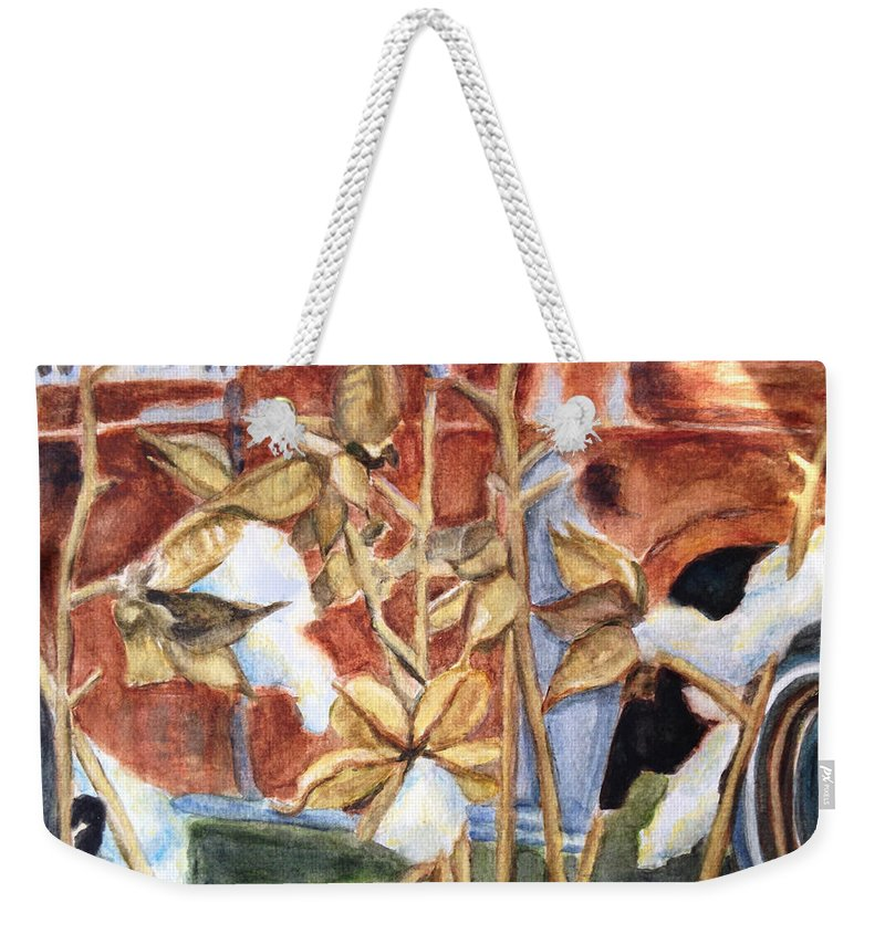 Cotton Weekender Tote Bag featuring the painting Cotton Truck by Carol Boss