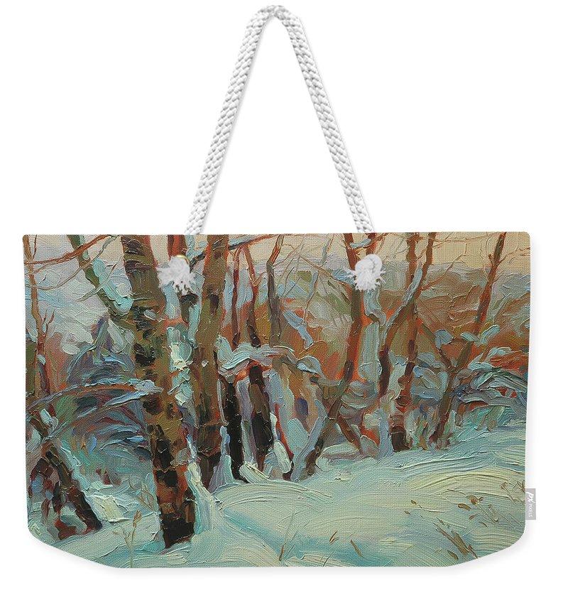 Winter Weekender Tote Bag featuring the painting Cottonwood Grove by Steve Henderson