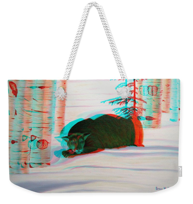 3d Weekender Tote Bag featuring the photograph Cougar - Use Red-cyan 3d Glasses by Brian Wallace