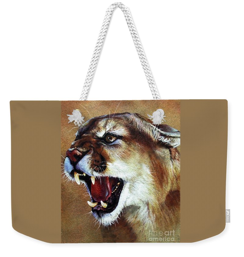 Southwest Art Weekender Tote Bag featuring the painting Cougar by J W Baker