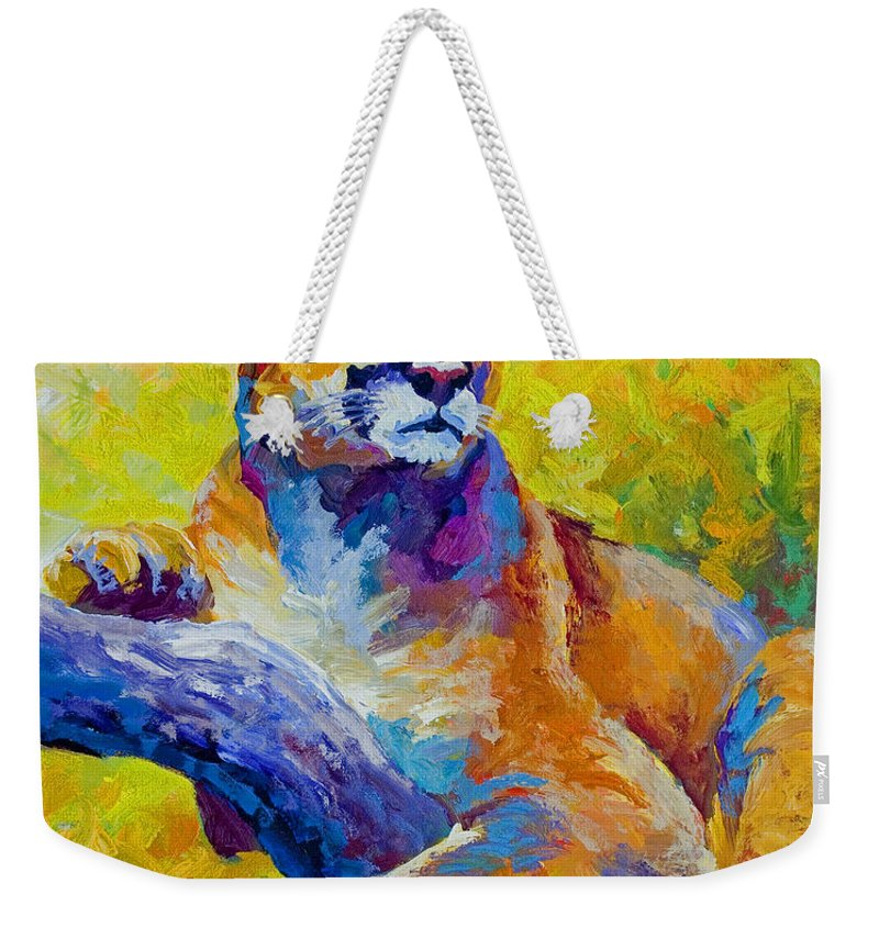Mountain Lion Weekender Tote Bag featuring the painting Cougar Portrait I by Marion Rose