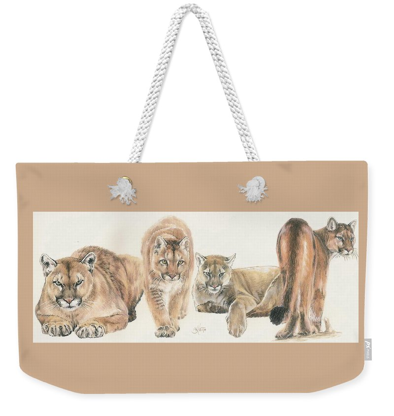 Cougar Weekender Tote Bag featuring the mixed media New World Cougar Wrap by Barbara Keith