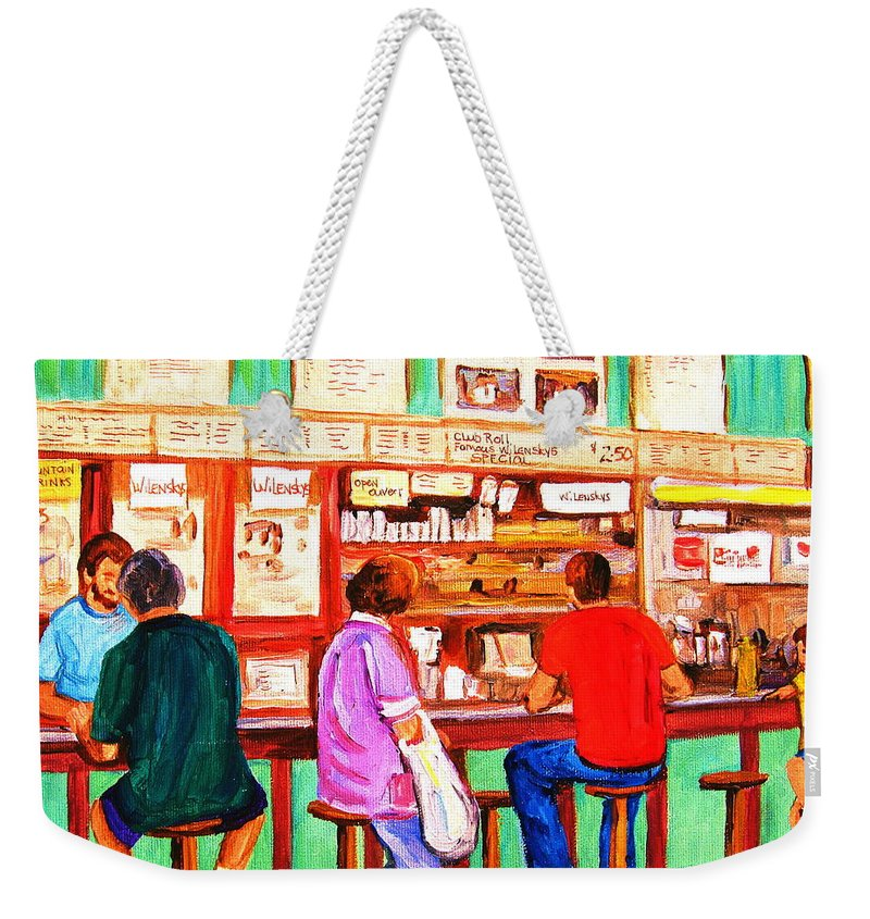 Montreal Weekender Tote Bag featuring the painting Counter Culture by Carole Spandau