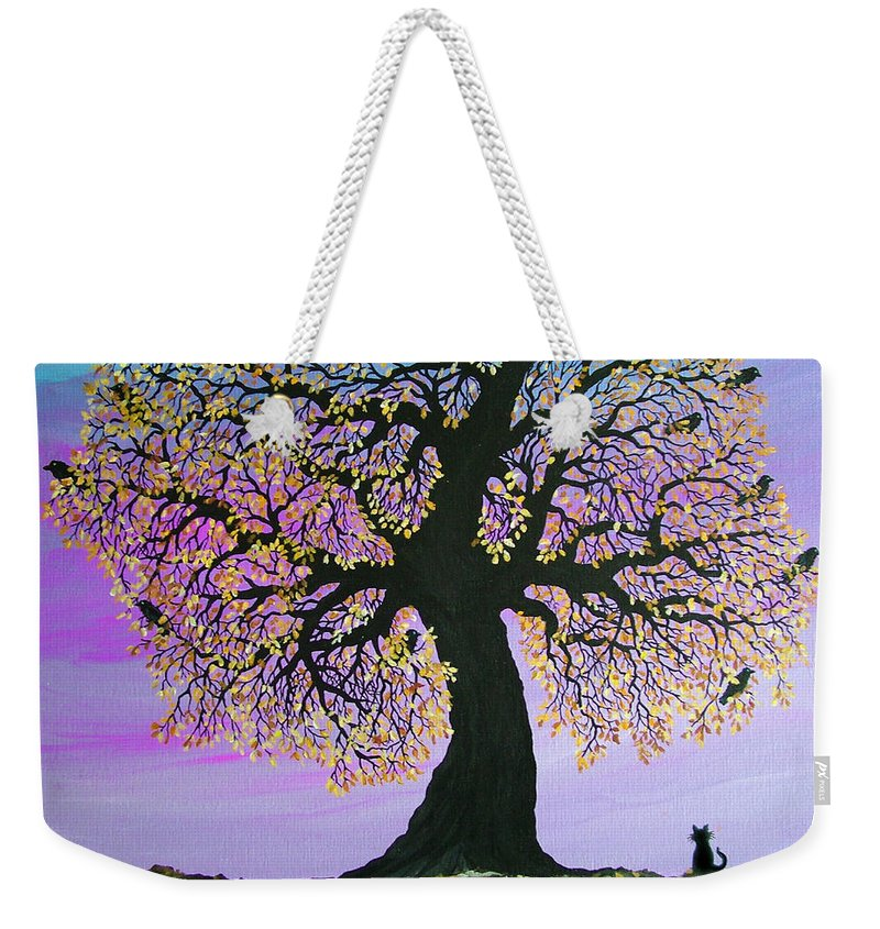 Crowes And Cat Weekender Tote Bag featuring the painting Counting Crowes by Nick Gustafson