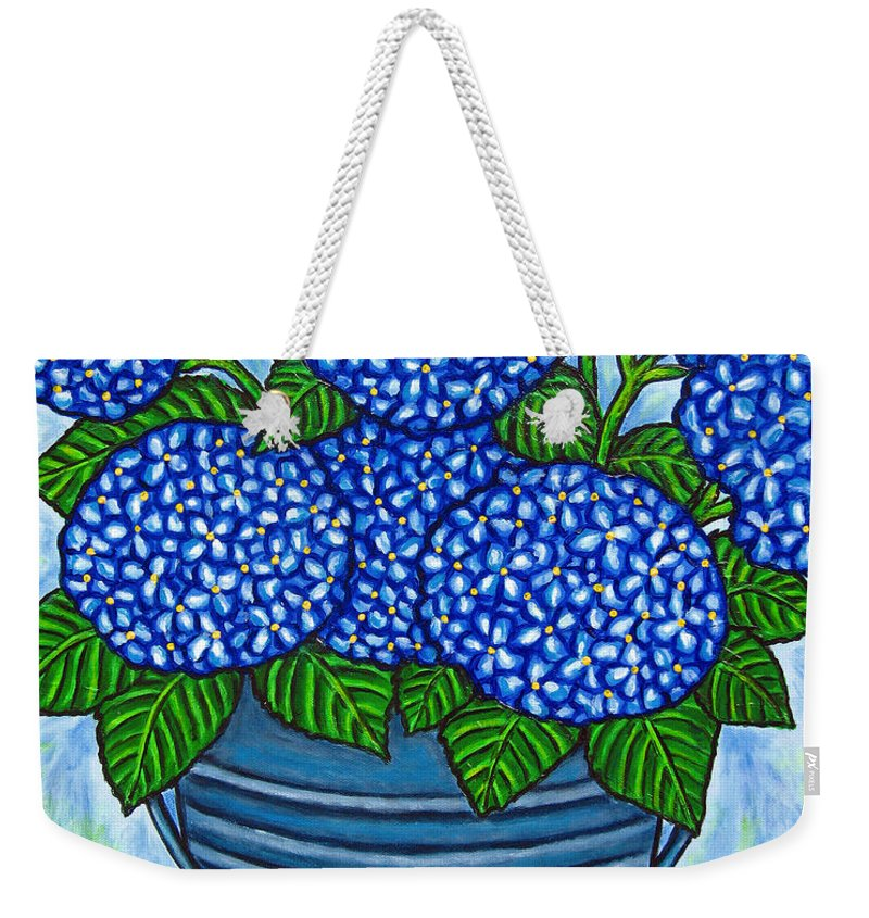 Blue Weekender Tote Bag featuring the painting Country Blues by Lisa Lorenz