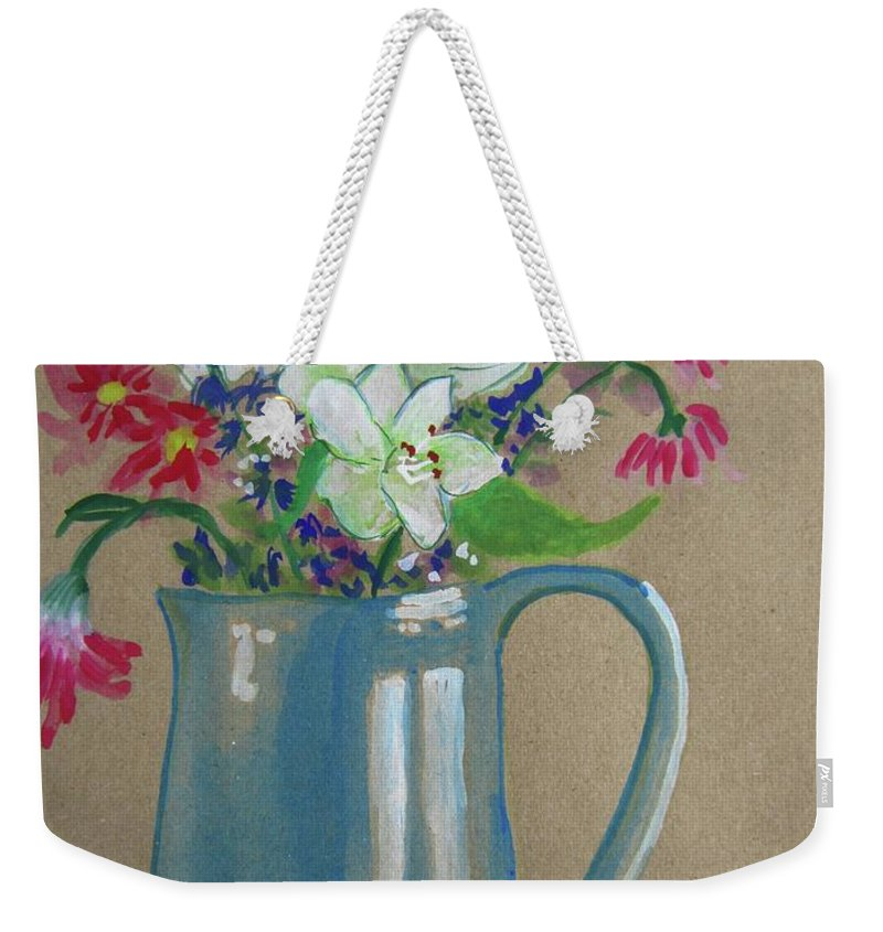 Watercolor Weekender Tote Bag featuring the painting Country Bouquet by Marita McVeigh