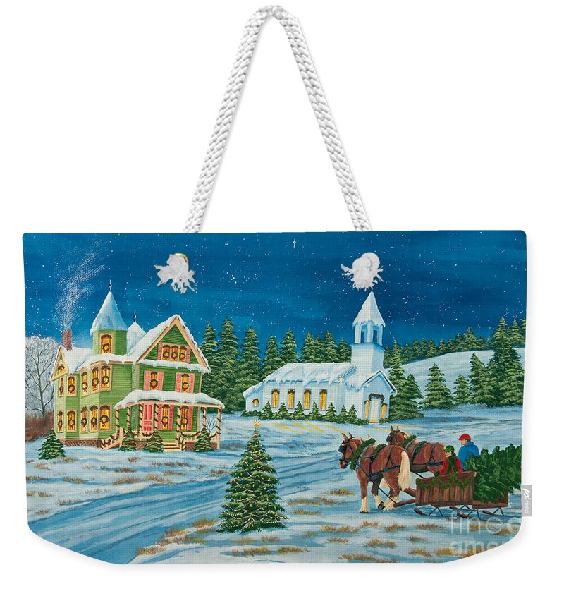 Winter Scene Paintings Weekender Tote Bag featuring the painting Country Christmas by Charlotte Blanchard
