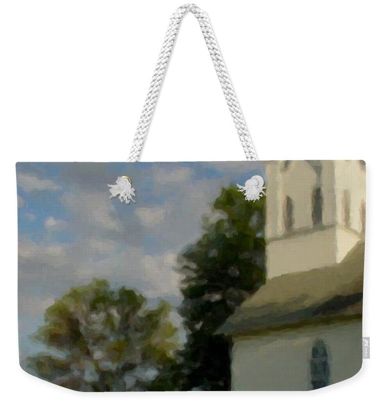 Church Weekender Tote Bag featuring the digital art Country Chuch by Anita Burgermeister
