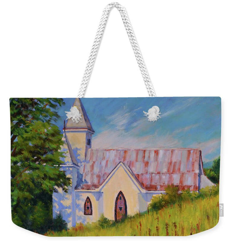 Impressionism Weekender Tote Bag featuring the painting Country Church by Keith Burgess