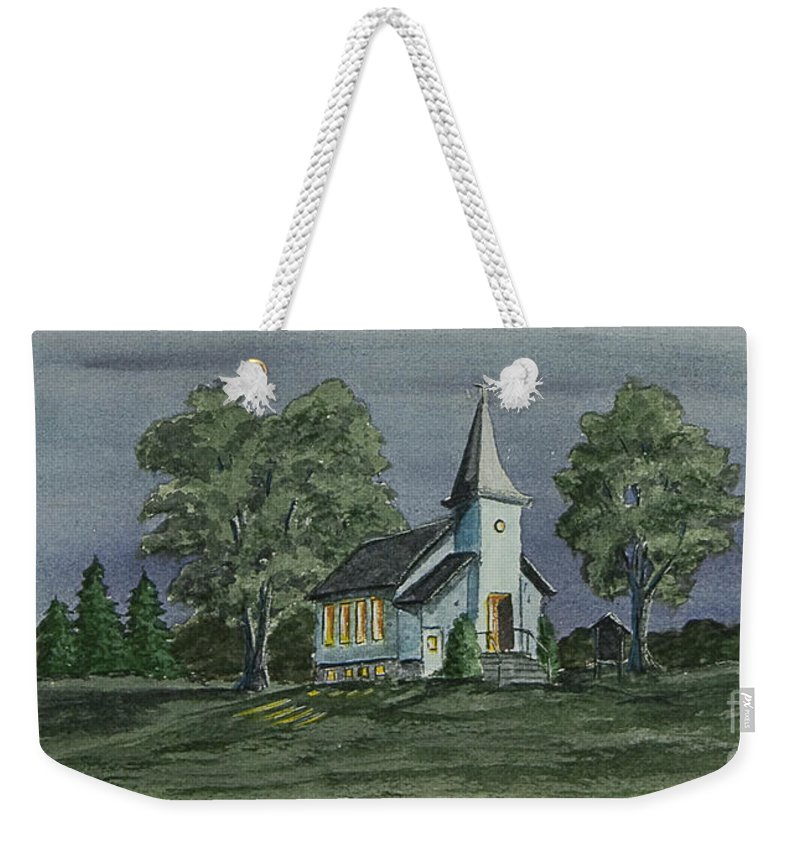Country Church At Night Weekender Tote Bag featuring the painting Country Church On A Summer Night by Charlotte Blanchard
