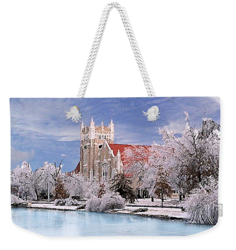 Winter Weekender Tote Bag featuring the photograph Country Club Christian Church by Steve Karol