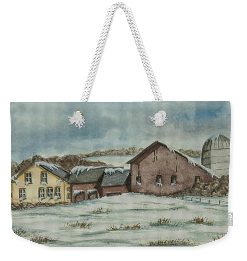 Winter Scene Paintings Weekender Tote Bag featuring the painting Country Farm In Winter by Charlotte Blanchard