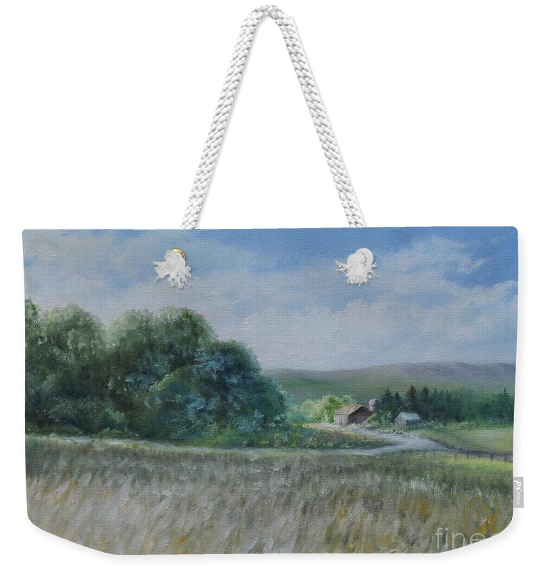 Country Scene Weekender Tote Bag featuring the painting Country Farm by Penny Neimiller