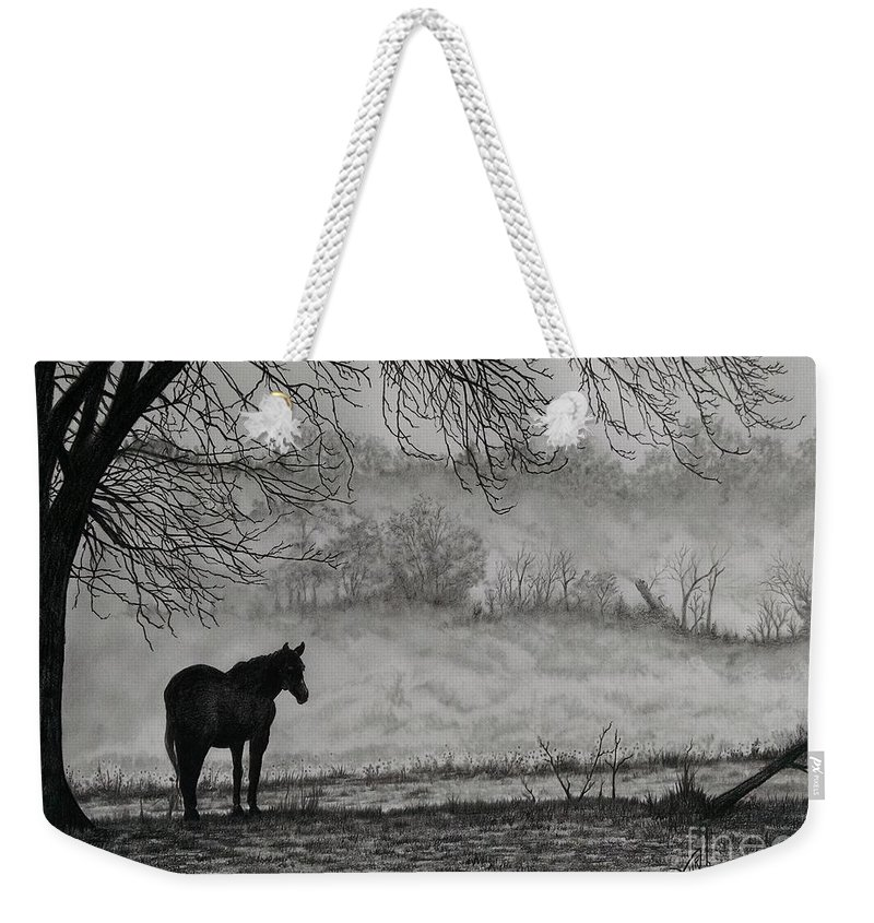 Pencil Weekender Tote Bag featuring the drawing Country Horse by Murphy Elliott
