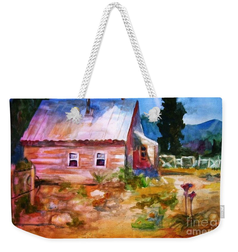 Cottage Weekender Tote Bag featuring the painting Country House by Frances Marino