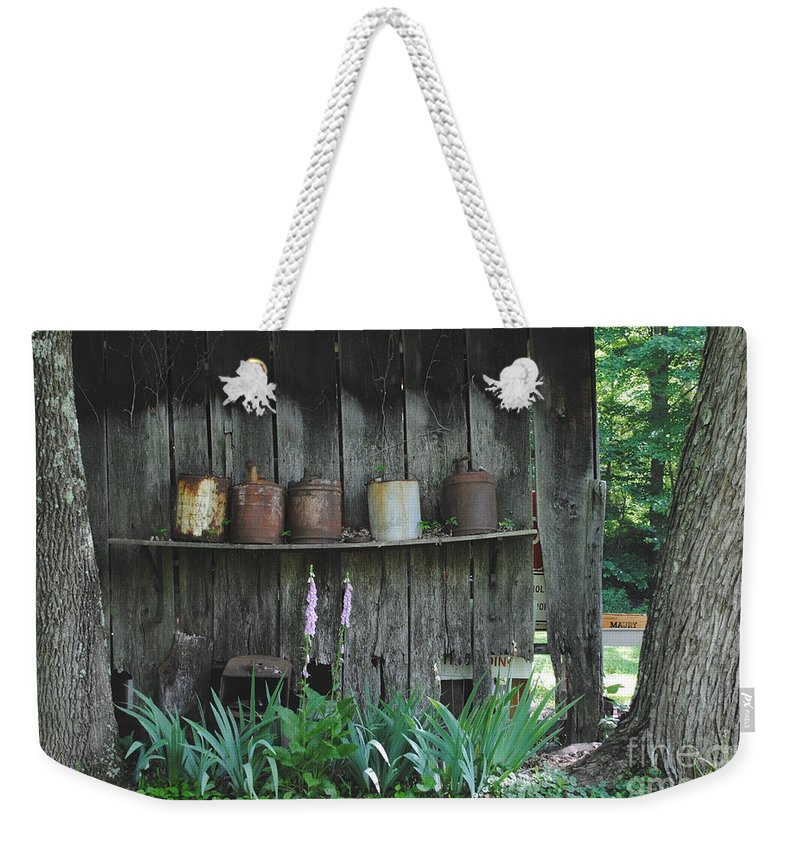 Country Weekender Tote Bag featuring the photograph Country Jugs by Jost Houk