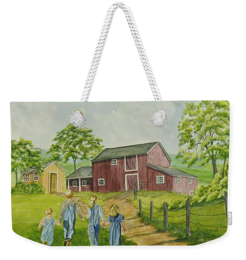Country Kids Art Weekender Tote Bag featuring the painting Country Kids by Charlotte Blanchard