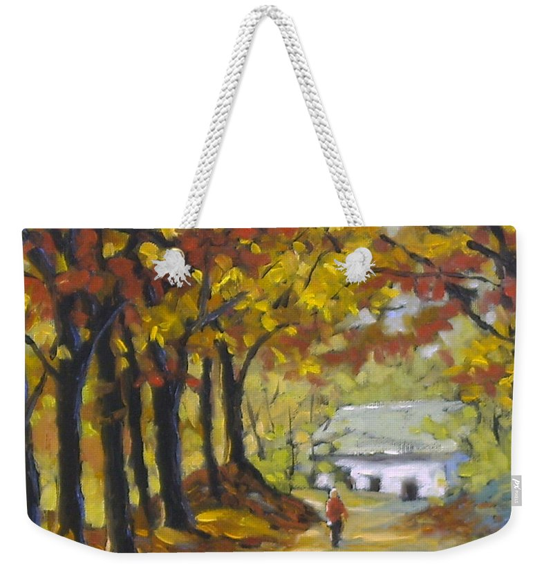 Art Weekender Tote Bag featuring the painting Country Lane by Richard T Pranke